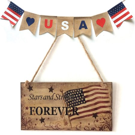 American 4th of July Independence Day Beautifully Wooden Plaque Sign God Bless America
