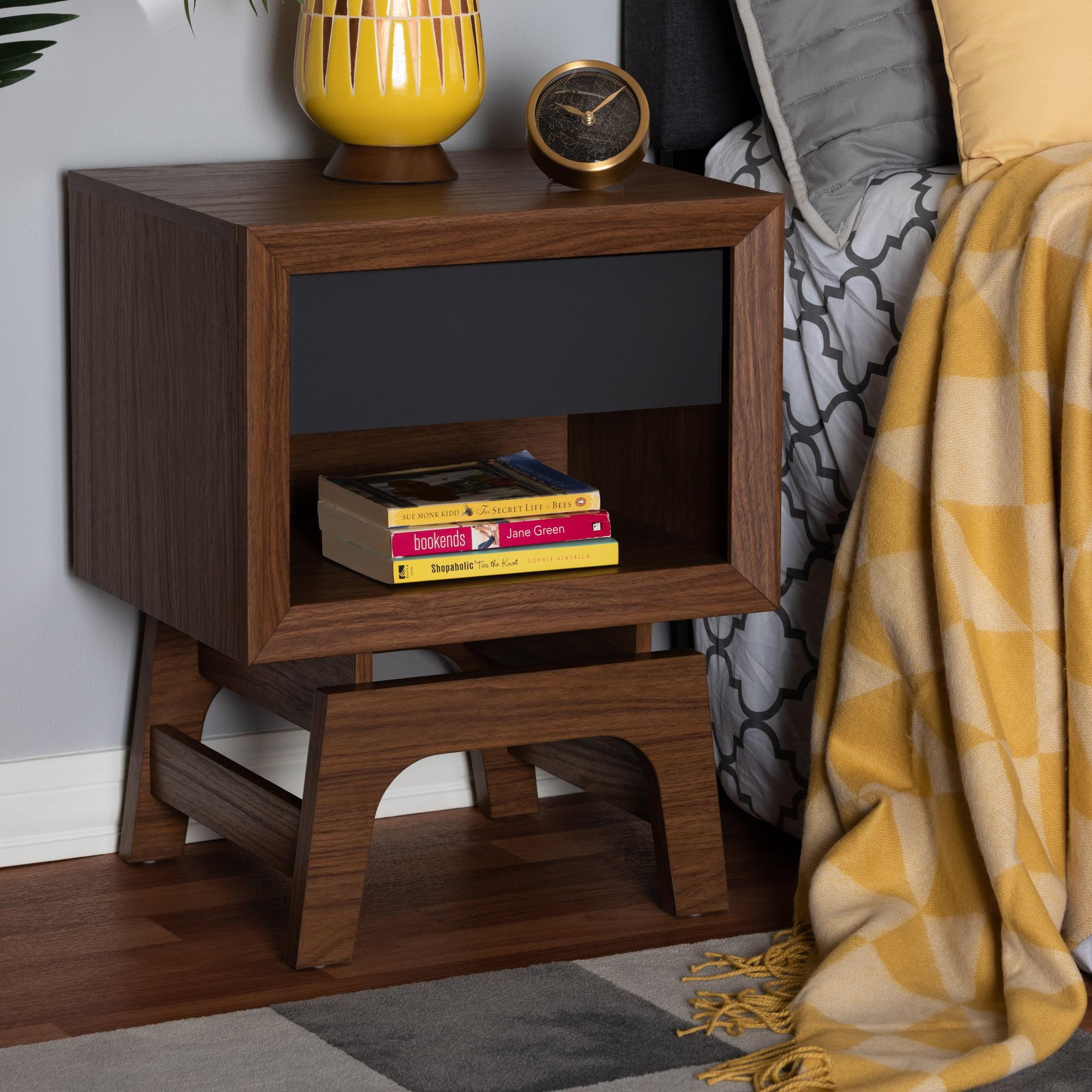 Baxton Studio Svante Mid-Century Modern Walnut Brown and Dark Gray Finished Wood 1-Drawer Nightstand