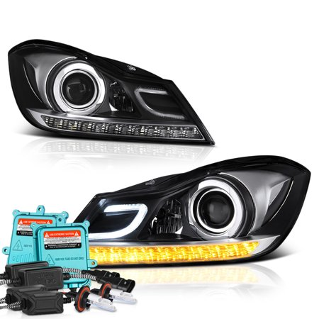 VIPMOTOZ LED Strip Projector Headlight Assembly For 2012-2014 Mercedes-Benz  W204 C-Class