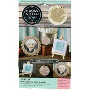 3 Birds Wood Baby Trend Pack Cross Stitch Kit, 15 Piece