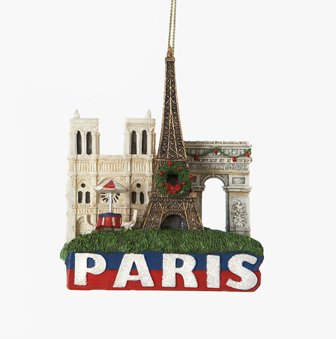 Paris Landmarks Christmas Ornament with Eiffel Tower, Arc de Triomphe and Notre Dame, Hand Painted By CitySouvenirs