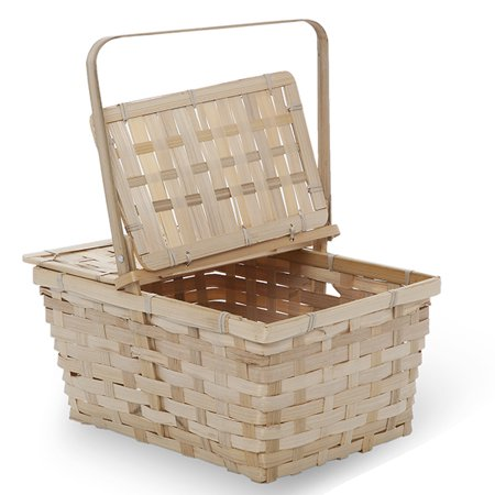 Garden Winds Rect Bamboo Weave Picnic Basket with Lid Med - Natural 11in
