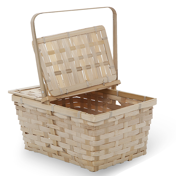 Rect Bamboo Weave Picnic Basket with Lid Med - Natural 11in