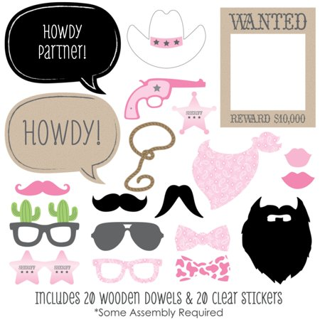 Little Cowgirl - Western Photo Booth Props Kit - 20 Count - Cowgirl Ideas To Wear