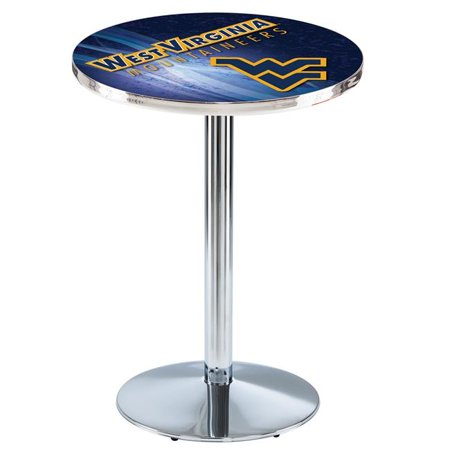 Holland Bar Stool L214C4236WestVA 42 in. West Virginia Mountaineers Pub Table with 36 in. Top, Chrome - image 1 of 1