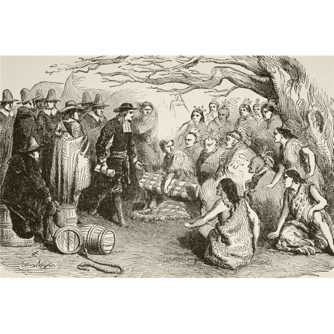Posterazzi DPI1872448 In 1682, William Penn Makes A Treaty with The Delaware Or Lenape Indians Under The Elm Tree At Shackamaxon In Present Day Pennsylvania From A 19th Century Illustration Poster - image 1 de 1