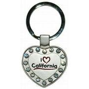 California Metal Heart Keychain (pack Of 48)