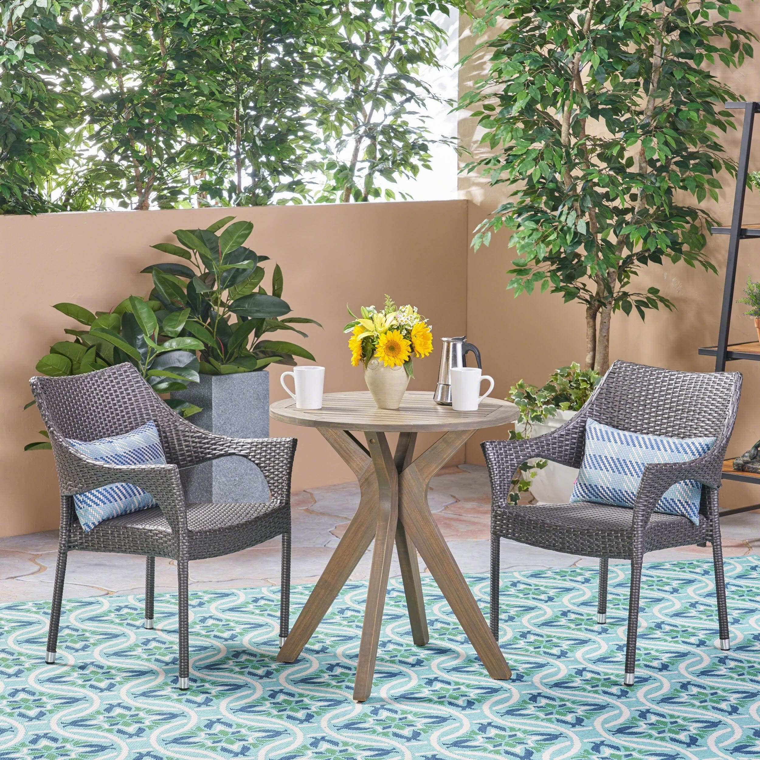 Christopher Knight Home Bryant Outdoor 3 Piece Acacia Wood and Wicker Bistro Set by