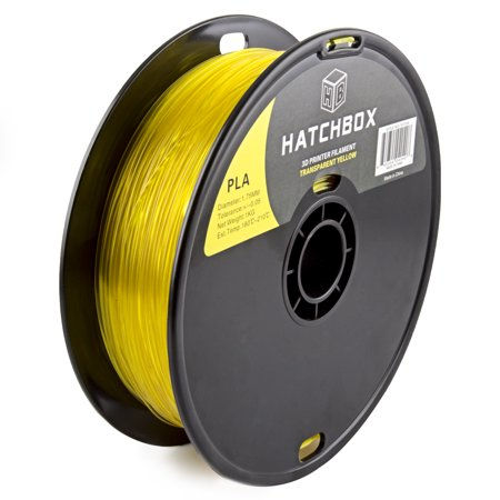 HATCHBOX 3D PLA-1KG1.75-TYLW PLA 3D Printer Filament, Dimensional Accuracy +/- 0.05 mm, 1 kg Spool, 1.75 mm, Transparent Yellow