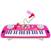Happy Face 37 Keys Electric Organ Children's Kid's Battery Operated Toy Piano Keyboard Instrument w/ Microphone (Pink) by Velocity Toys