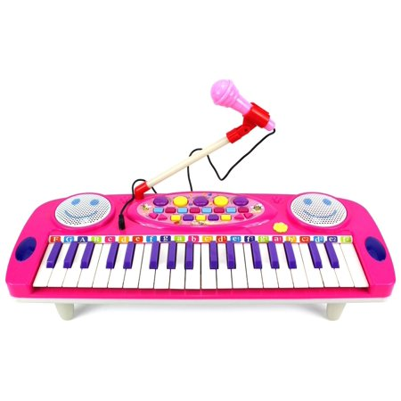 Happy Face 37 Keys Electric Organ Children's Kid's Battery Operated Toy Piano Keyboard Instrument w/ Microphone (Pink) by Velocity Toys (Piano 37 Key)