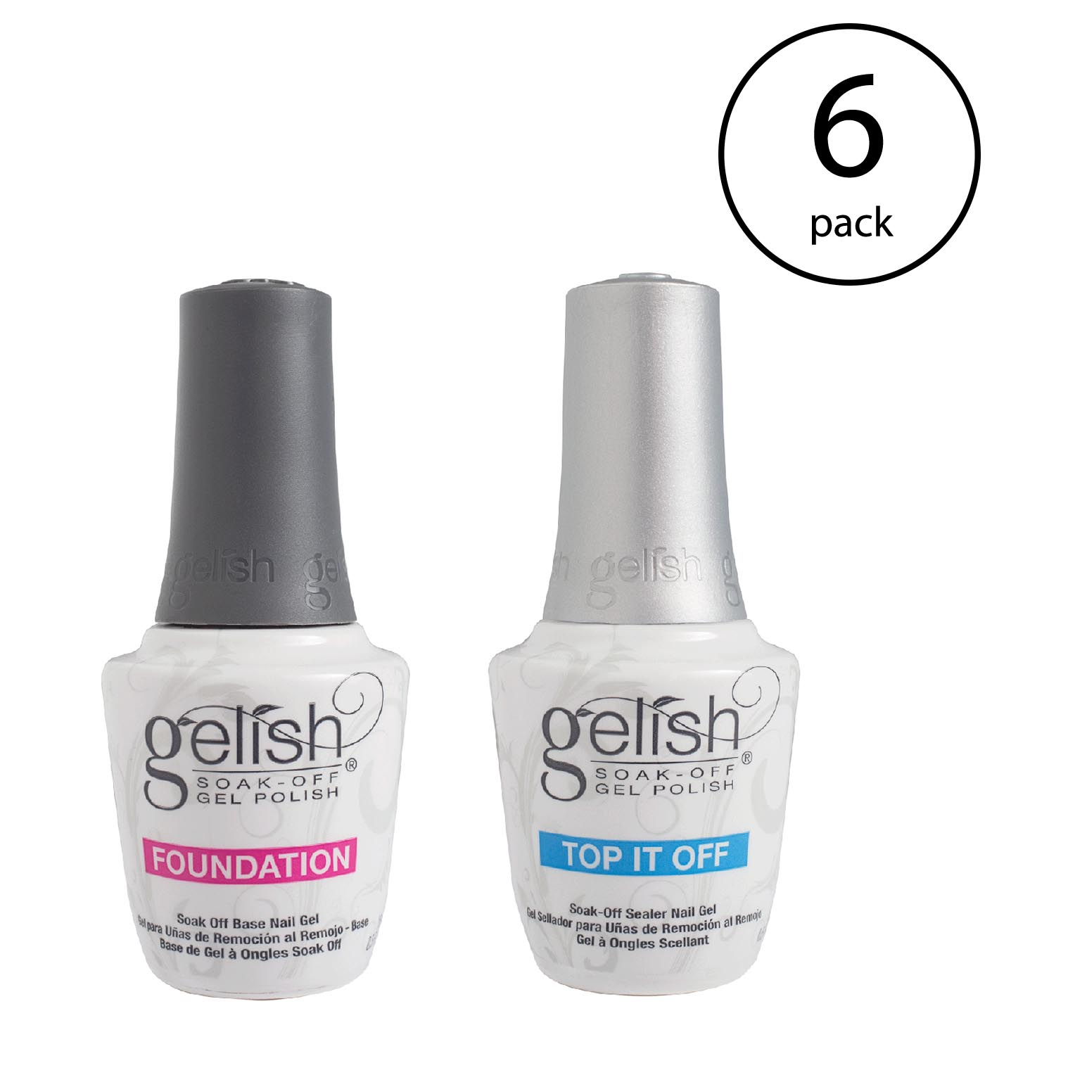 Gelish Dynamic Duo Foundation Base & Top It Off Sealer Gel Nail Polish (6 Pack)