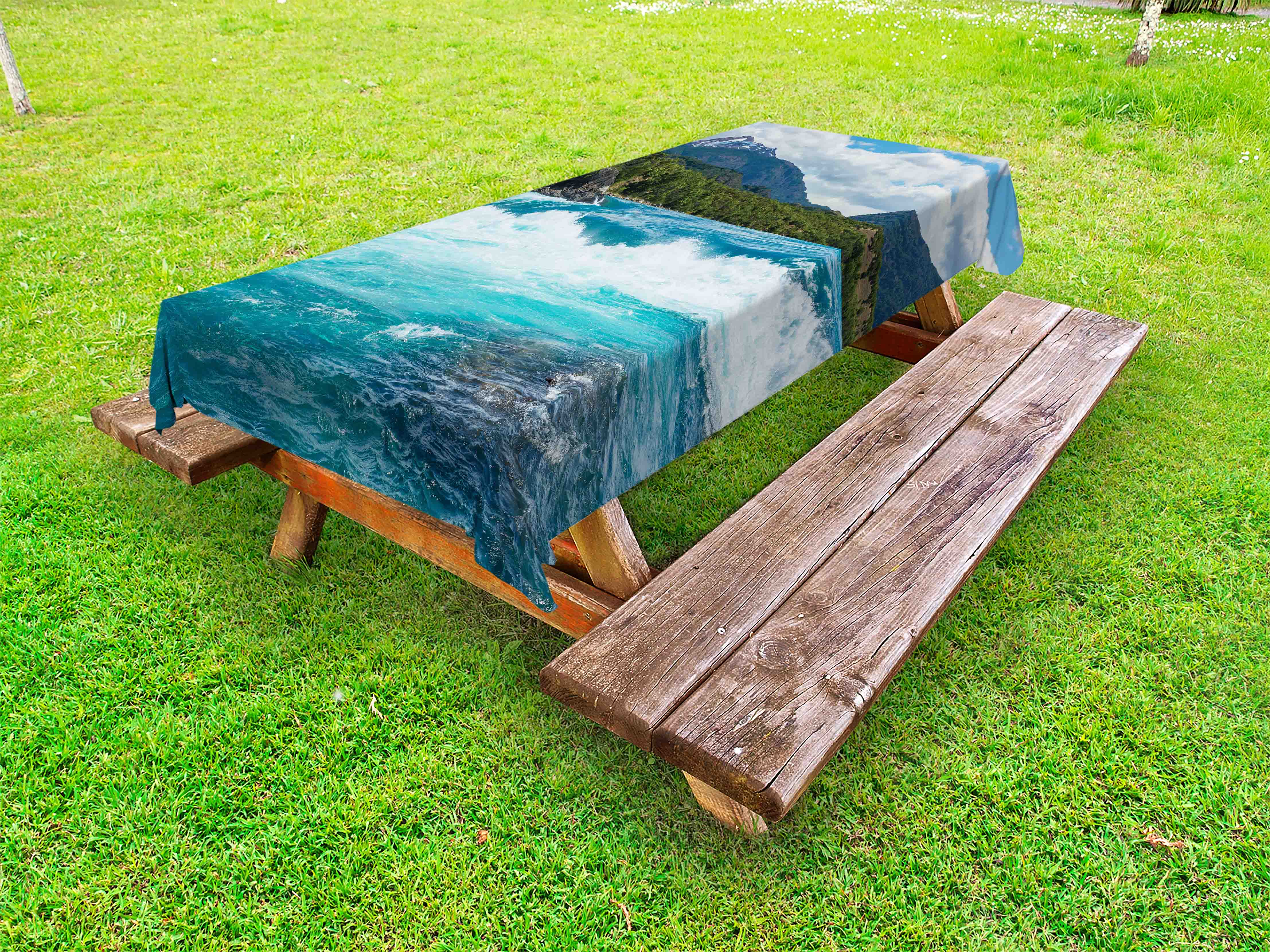 Fall Outdoor Picnic Tablecloth in 3 Sizes Washable Waterproof Ambesonne
