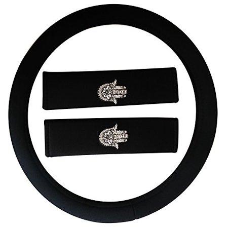 (Premium 13 Piece Luxury Black Poly Cloth The Hamsa Hand of Fatima Stitching Art Yoga Religous Meditation Universal Car Seat Cover Set w/ Steering Wheel & Seat Belt Pads)