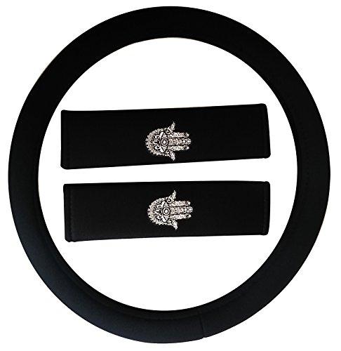 Premium 13 Piece Luxury Black Poly Cloth The Hamsa Hand of Fatima Stitching Art Yoga Religous Meditation Universal Car Seat Cover Set w/ Steering Wheel & Seat Belt Pads