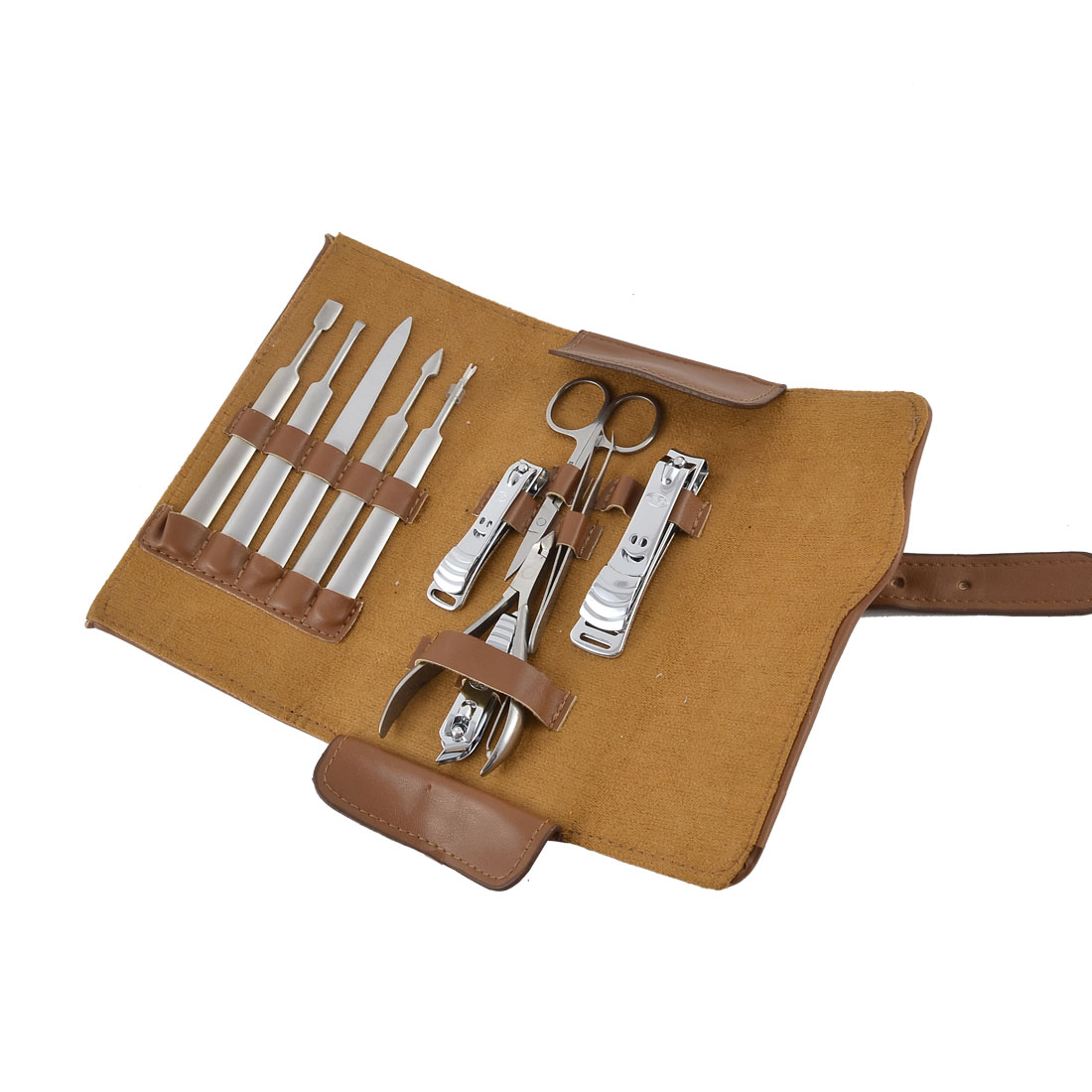 11 in 1 Faux Leather Case Manicure Nail Clipper Cuticle Grooming Kit Set Brown