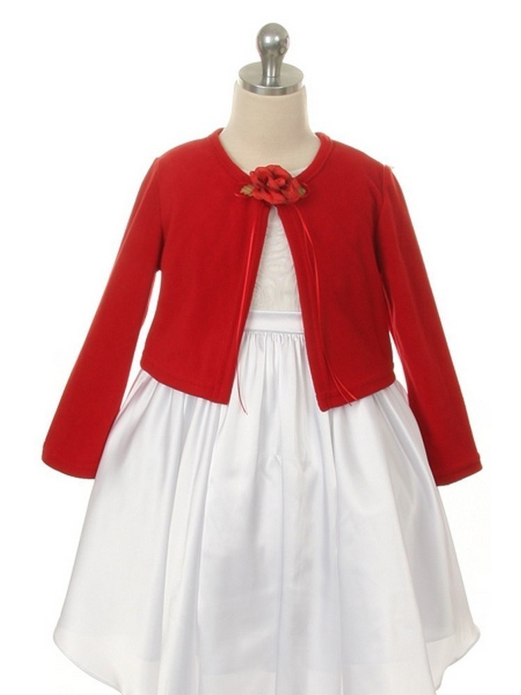 Kids Dream Red Flower Special Occasion Cardigan Sweater Girls 10