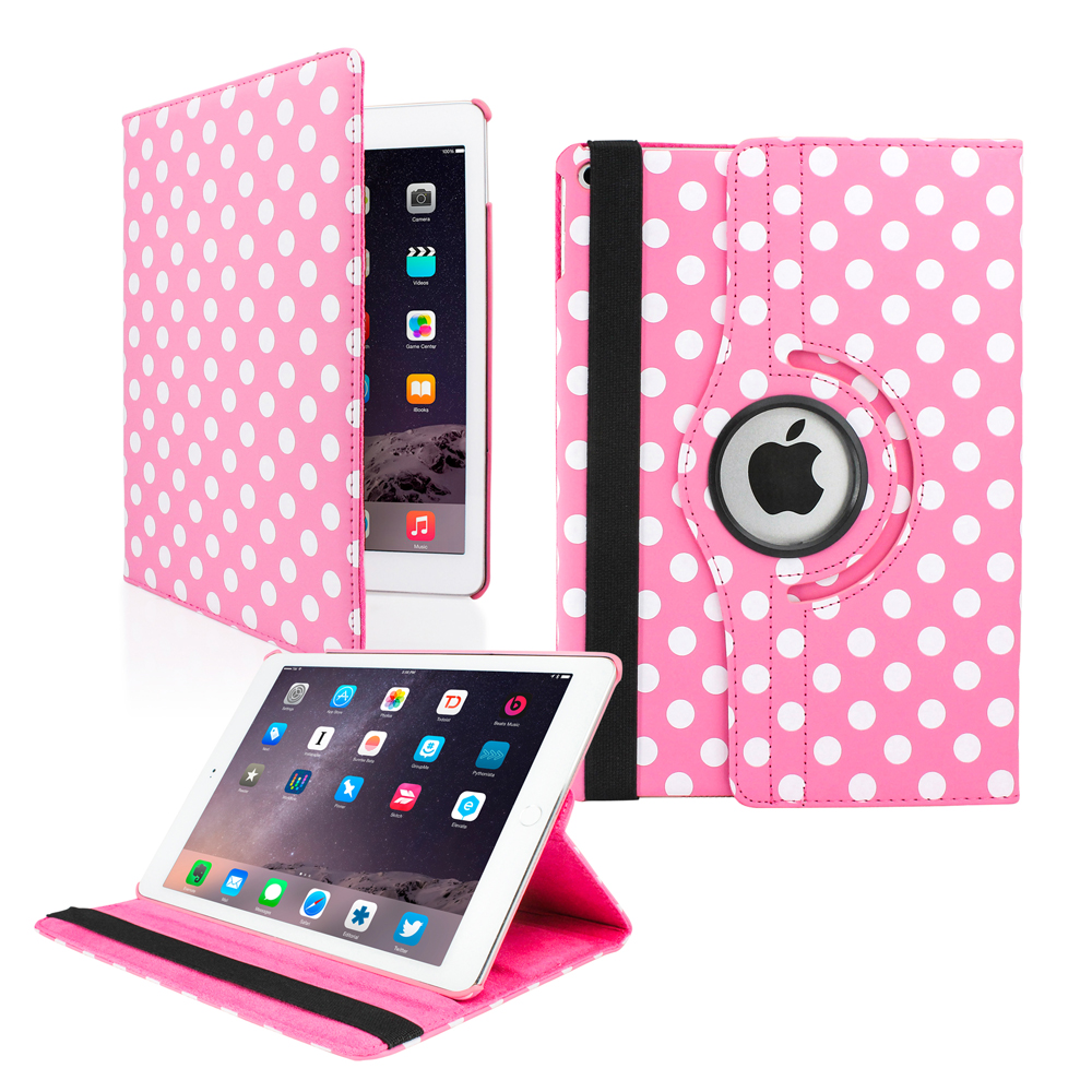 2014 Apple iPad Air 2 360 Degree Rotating Stand Smart Cover PU Leather Swivel Case - Pink Polkadot