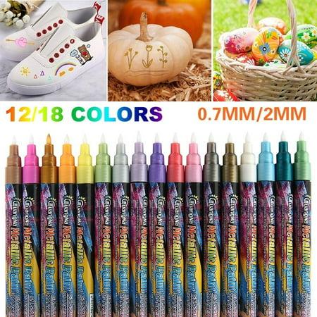 12/18 Colours 0.7/2 Mm Acrylic Metallic Paint Marker Pens Point Art Pen Set for Rock Painting Glass/Mug Design DIY Arts Crafts Pen Touch Metallic Marker