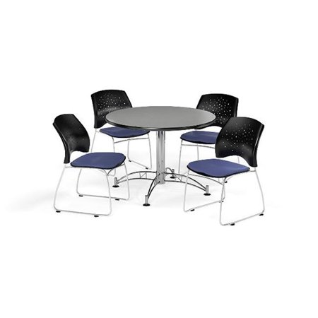 Ofm Pkg Brk 168 0020 Breakroom Package Featuring 42 In  Round Multi Purpose Table With Four Stars Stack Chairs