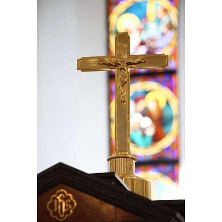 Canvas Print Cross Crucifix Stained Glass Church Altar Religion Stretched Canvas 10 x 14 - Stained Glass Crosses