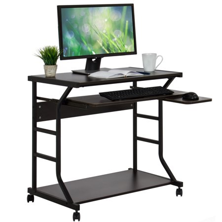 Best Choice Products 2-Tier Home Office Computer Laptop Desk Workstation w/ Locking Wheels, Pullout Keyboard Tray, Mouse Platform -