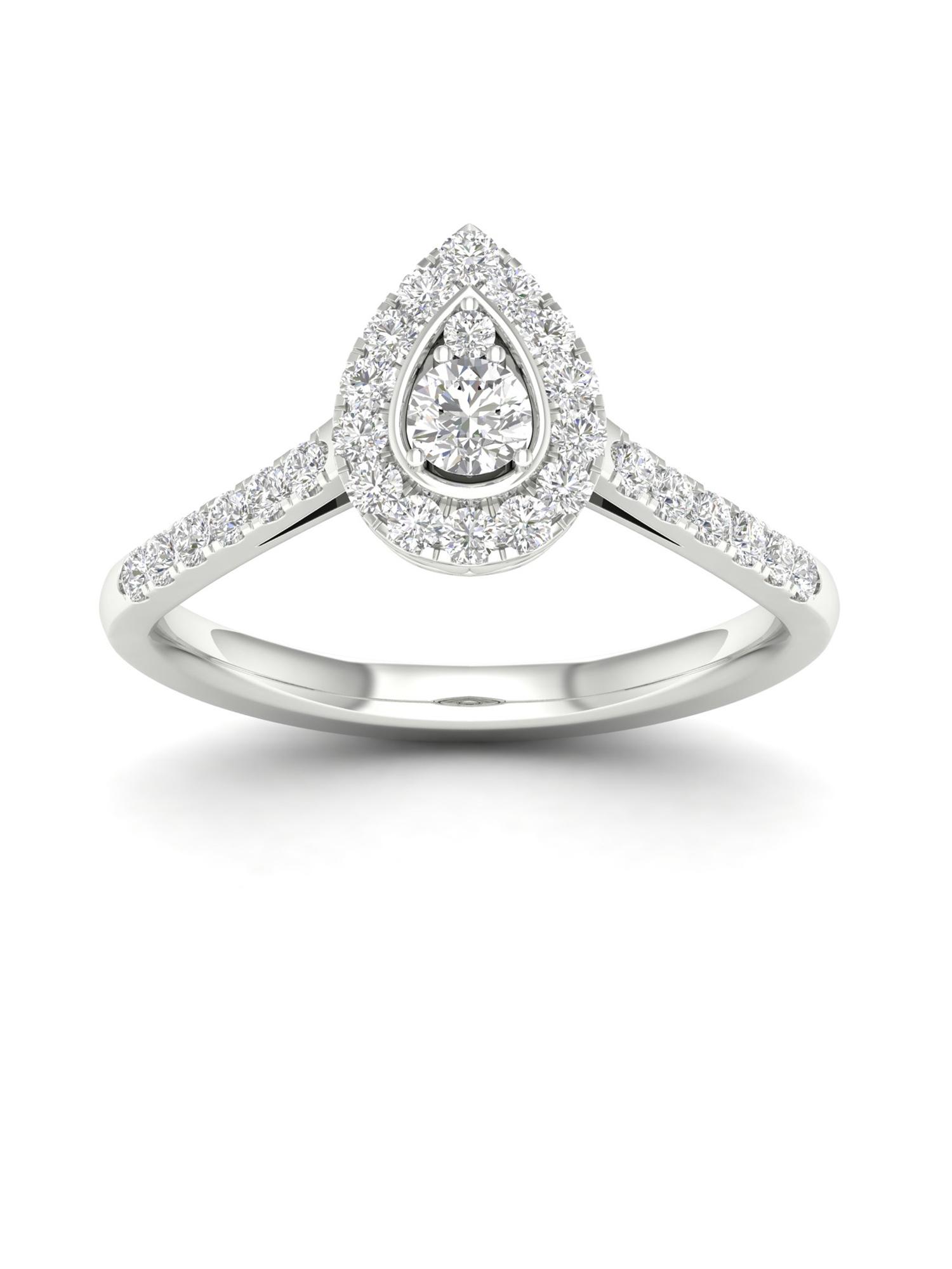 1/3Ct TDW Diamond 10k White Gold Pear Shape Halo Engagement Ring (I-J, I2)