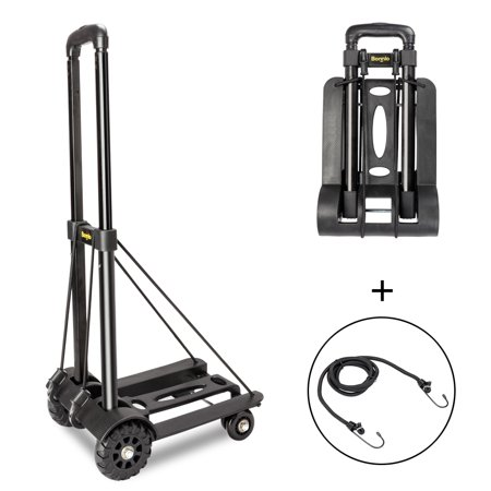 Ktaxon Small Mini Folding Luggage Cart, Heavy Duty Foldable Utility Dolly Trolley Car Hand Truck, w/ 4 Fixed Wheels,for Luggage Travel Moving Shopping Office Use, Black,  88 Lbs Capacity