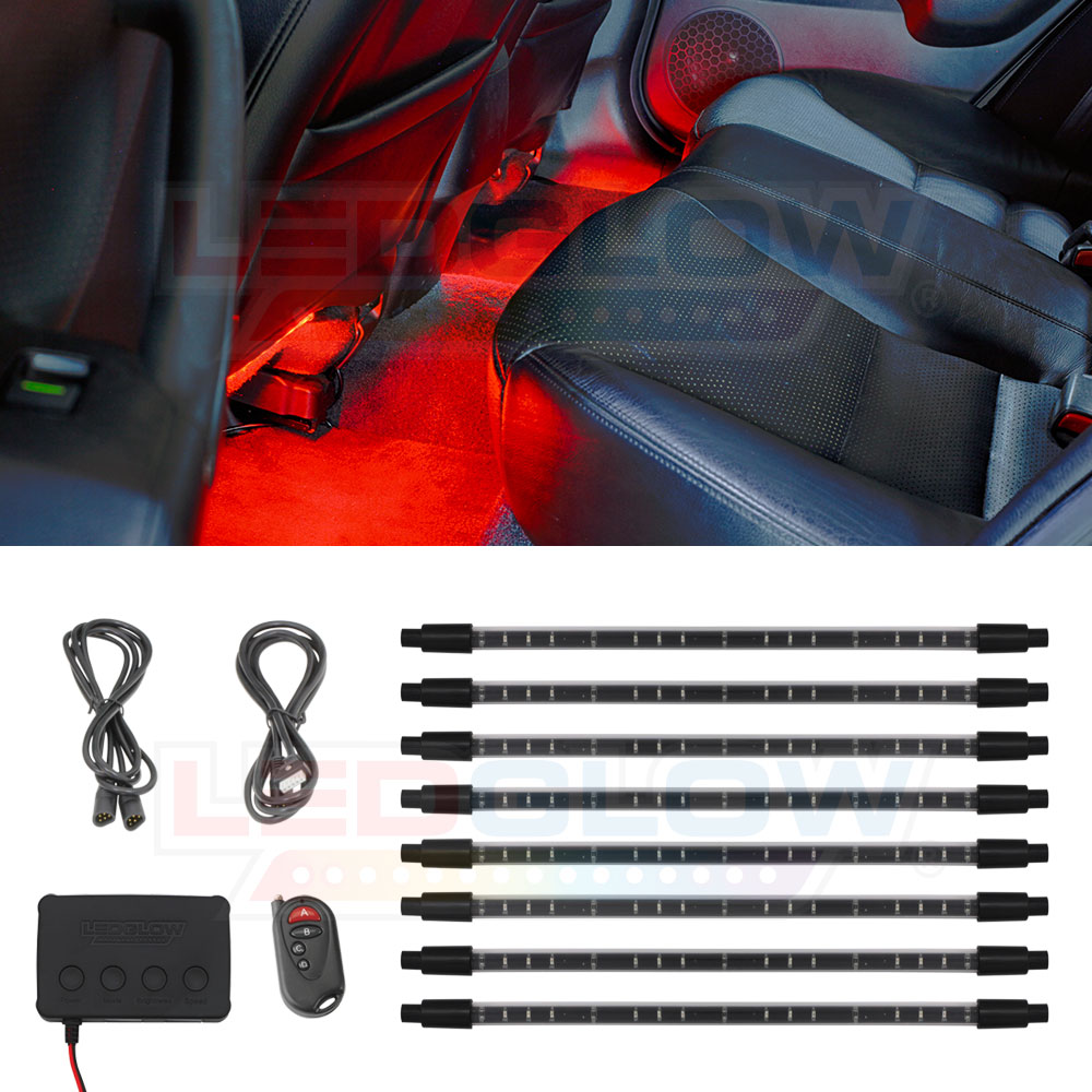 LEDGlow 8pc Red Expandable SMD LED Interior Underdash Lighting Kit