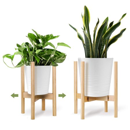 One Sight Adjustable Plant Stand for 8 to 12 inch Planter Mid Century Modern Wood Indoor Flower Plant Pot Holder (Plant & Pot NOT Included) (Planters For Indoor Plants)