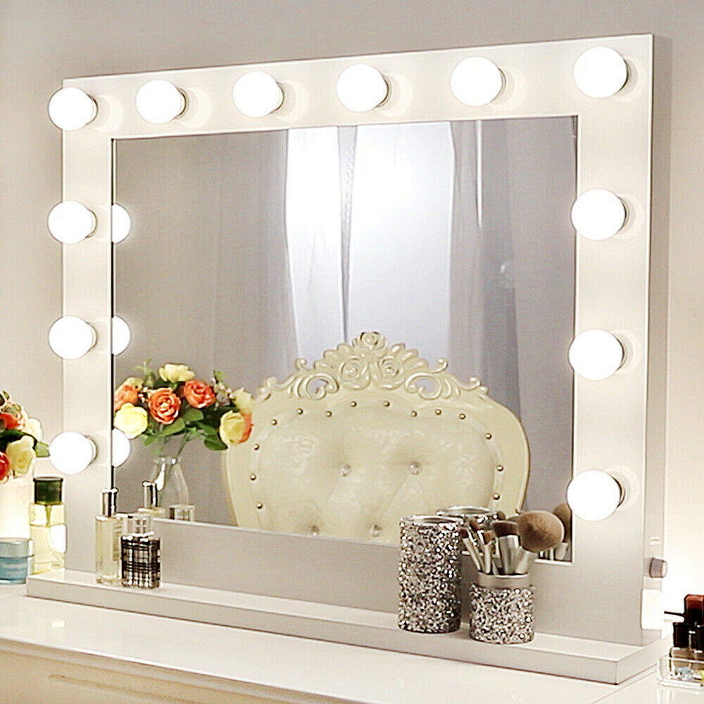 Chende White Hollywood Makeup Vanity Mirror With Light Stage Large Beauty Mirror For Dressing Room Walmart Com Walmart Com