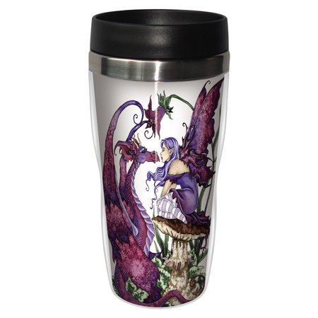 Brown Dragon (Tree-Free Greetings sg23585 Fantasy The Staring Contest Fairy and Dragon by Amy Brown, Sip 'N Go Stainless Travel Tumbler, 16-Ounce,)