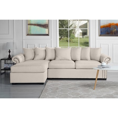 Modern Large Tufted Linen Fabric Sectional Sofa Scroll Arm L Shape Couch Beige