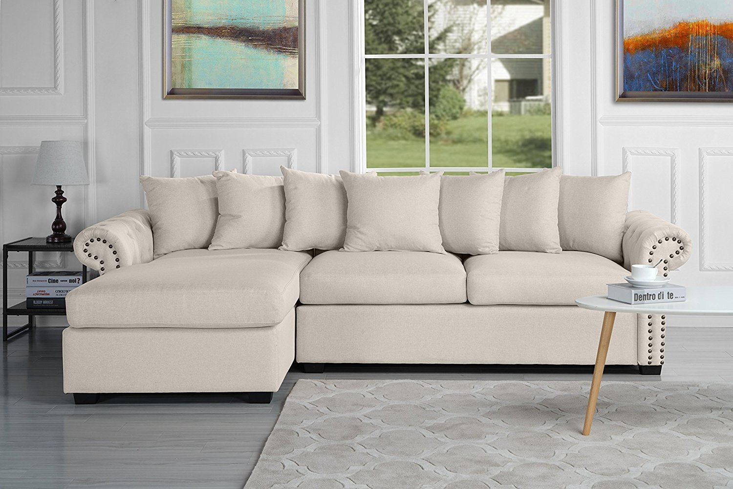 Gentil Modern Large Tufted Linen Fabric Sectional Sofa, Scroll Arm L Shape Couch  (Beige