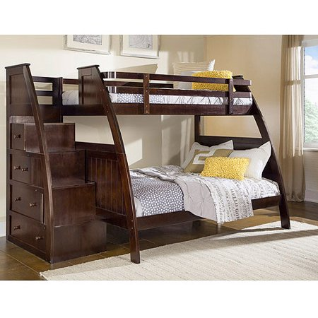 Canwood Overland Twin Over Full Bunk Bed With Built In Stairs Drawers Espresso
