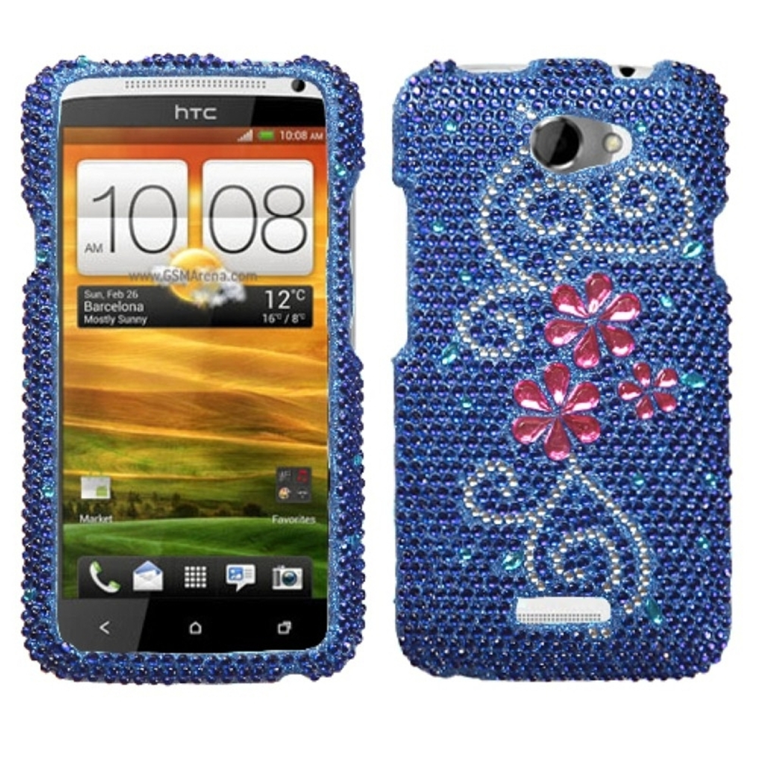 Insten Juicy Flower Diamante Case for HTC: One X, One X