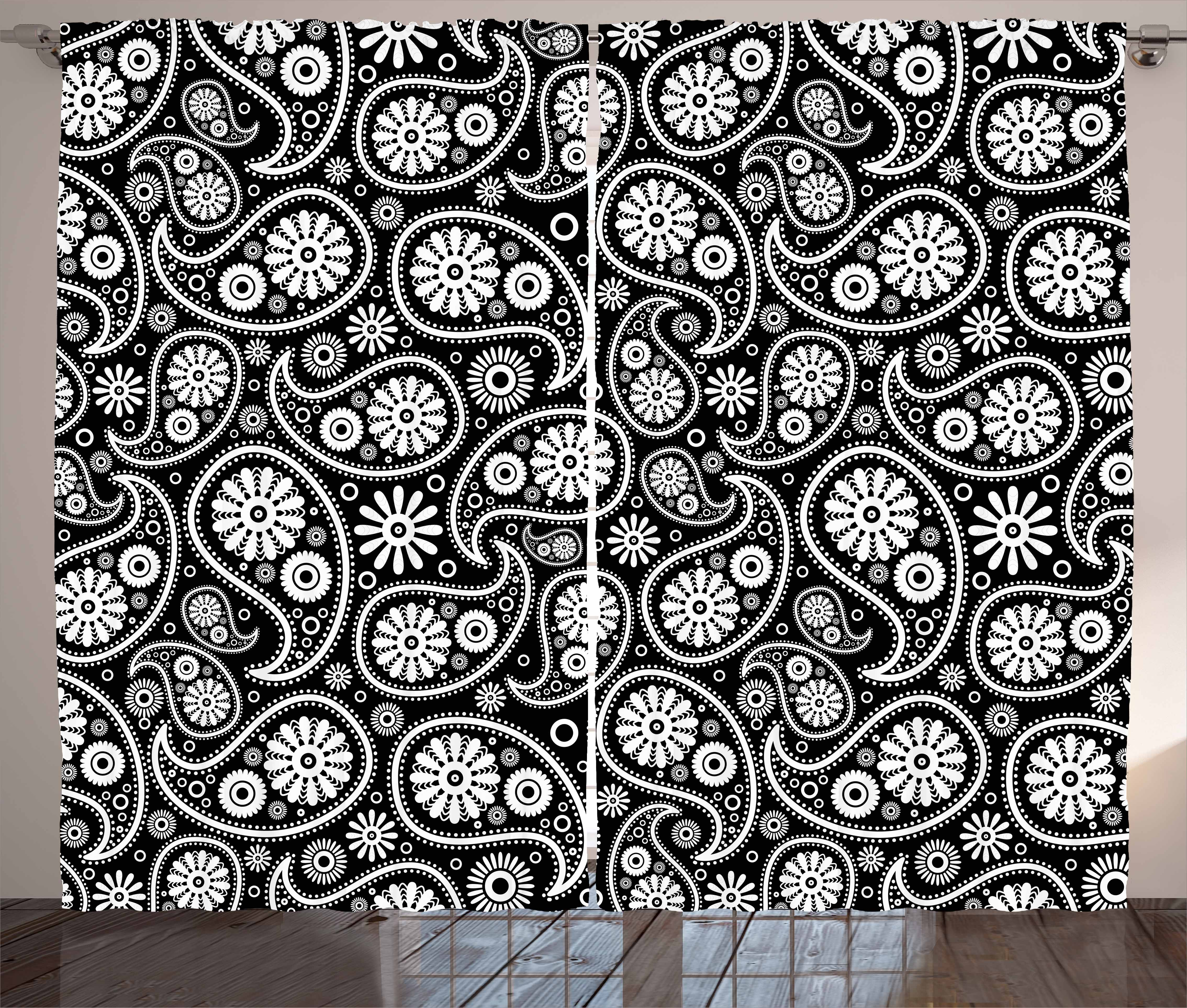 Black and White Curtains 2 Panels Set, Nostalgic Paisley Teardrop Motifs  with Florals Persian Culture and Art, Window Drapes for Living Room  Bedroom, ...