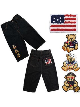 Nautical Sailor Pirate Bear Stars & Stripes Infant Boy Toddler Cotton Jeans S-XL