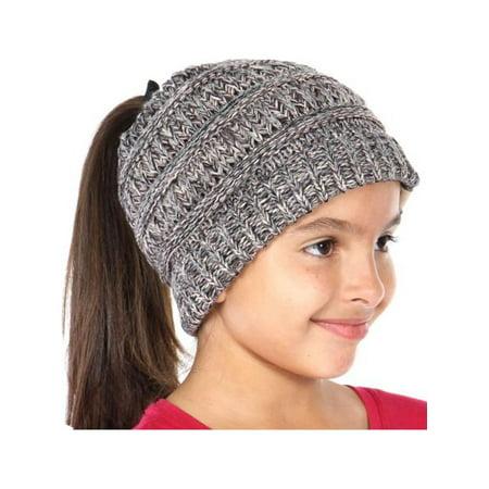3d247173ea95c4 C.C - Little Girls Gray Melange Pony Tail Hole Logo Patch Ribbed Edge  Beanie Hat - Walmart.com