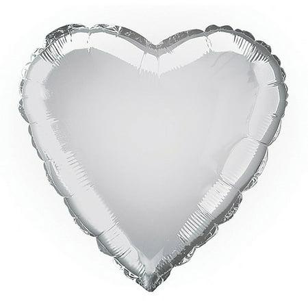 Foil Balloon, Heart, 18 in, Silver, 1ct](Balloons Silver)