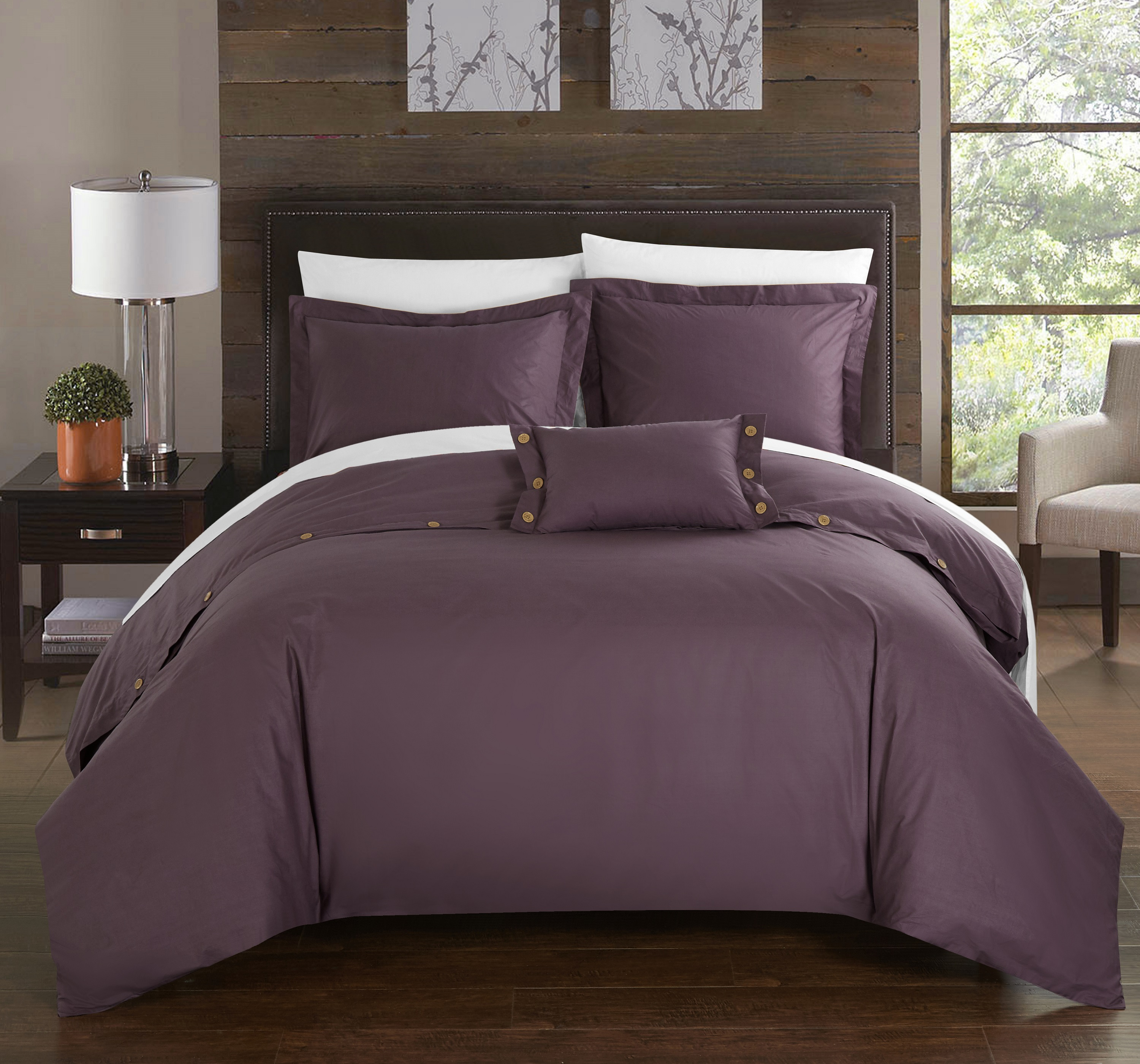 Chic Home 4-Piece Astrid 200 Thread Count COMBED FINISH 100% Cotton Twill Weave Decorative Button Closure Detail Queen Duvet Cover Set Purple Shams and Decorative Pillows included
