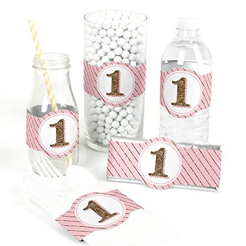 Fun to be One - 1st Birthday Girl - DIY Party Wrapper Favors - Set of 15