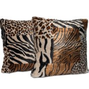 Sweet Home Collection Mixed Animal Print Throw Pillow (Set of 2)