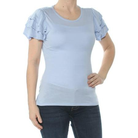 Womens Light Blue Short (BAR III Womens Light Blue Ruffled Short Sleeve Scoop Neck Top  Size: XS)