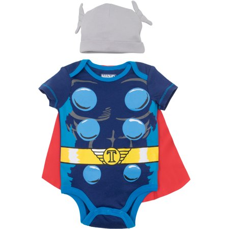 Marvel Avengers Thor Baby Boys' Costume Bodysuit with Cape and Hat Blue (3-6 Months) (3-6 Month Old Baby Halloween Costumes)