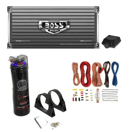 Farad Car Capacitor - Boss AR2000M 2000W MONO Car Amplifier + Remote + 2.0 Farad Capacitor + Amp Kit