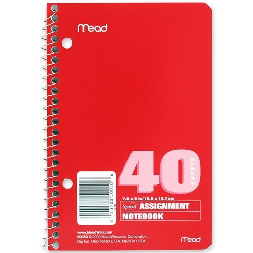 """Mead Spiralbound Assignment Book - 40 Sheet - Ruled - 5"""" X 7.50"""" - 1 Each - White Paper (MEA50050)"""