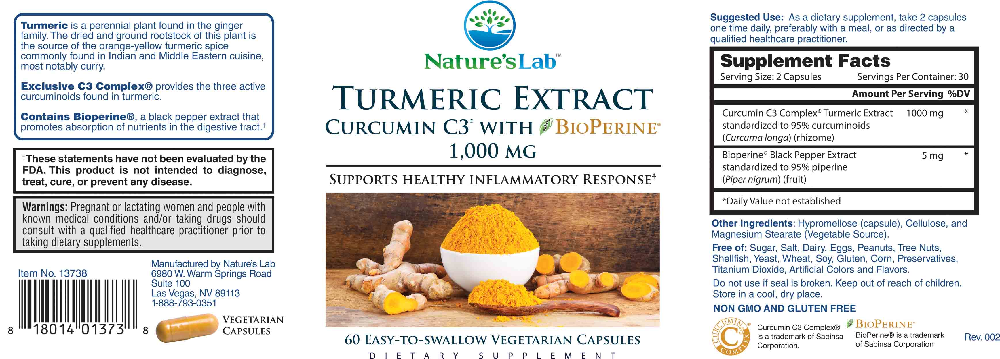 Nature's Lab Turmeric Extract with Curcumin C3 and BioPerine - 60 Count