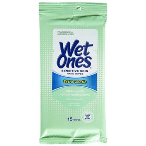 WET ONES Towelettes Sensitive Skin Extra Gentle Travel Pack 15 Each (Pack of 6)
