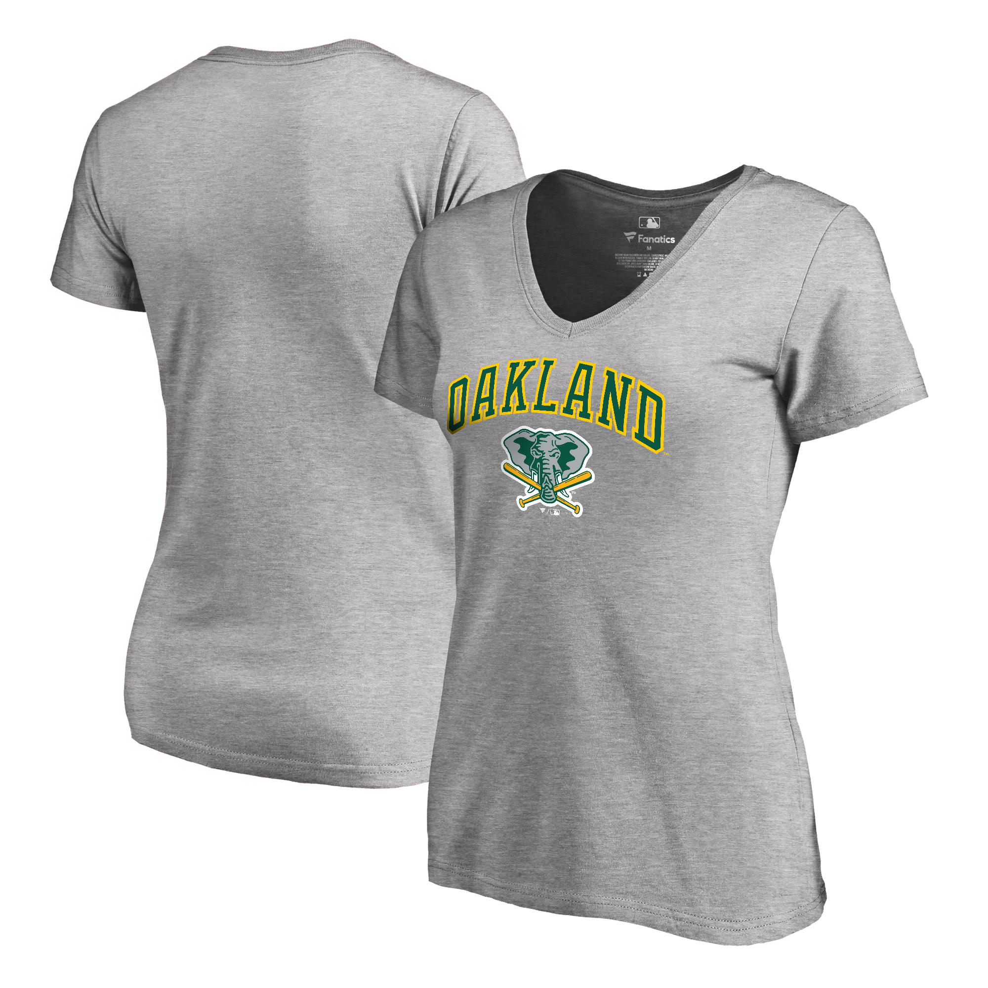 Oakland Athletics Fanatics Branded Women's Cooperstown Collection Wahconah V-Neck T-Shirt - Ash